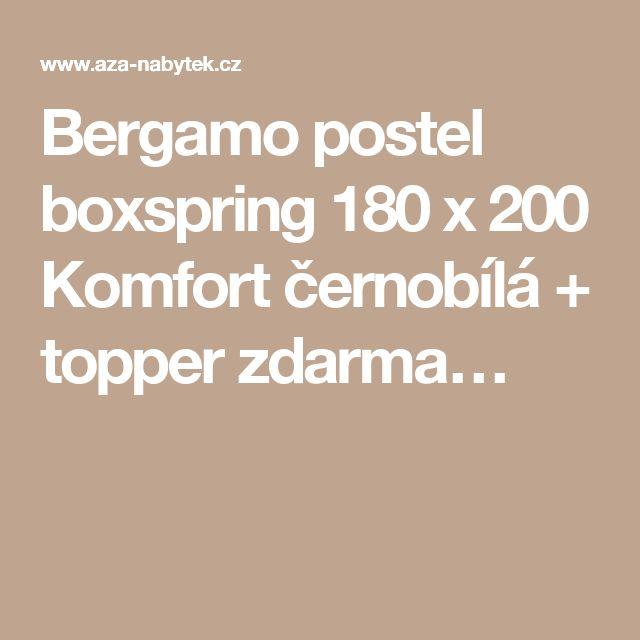 Bergamo postel boxspring 180 x 200 Komfort černobílá + topper zdarma…