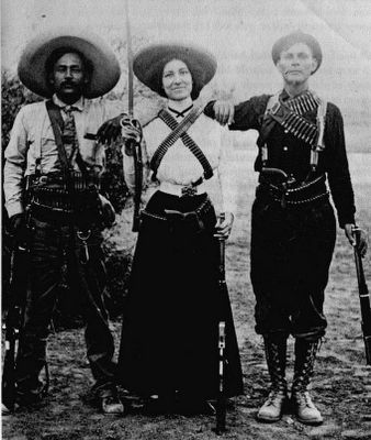 Soldadera and Adelitas were women who took up arms duing the Mexican Revolutionary War. C. 1910-20