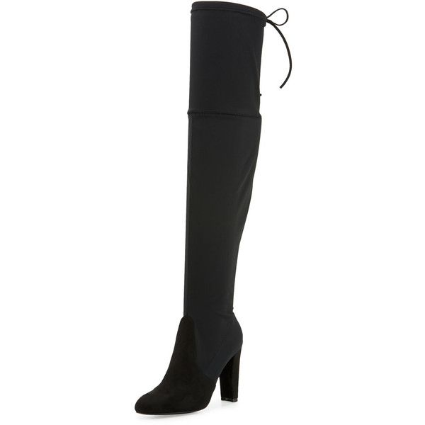 Charles By Charles David Sycamore Stretch Knee-High Boot ($49) ❤ liked on Polyvore featuring shoes, boots, black, slipon boots, stretch knee boots, pull on stretch boots, stretchy knee high boots and black pull on boots