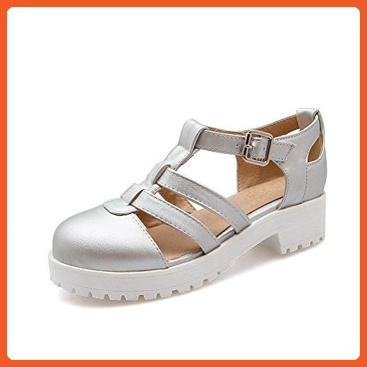 WeenFashion Women's Solid Soft Material Low-heels Buckle Closed Toe Sandals, Silver, 39 - Sandals for women (*Amazon Partner-Link)