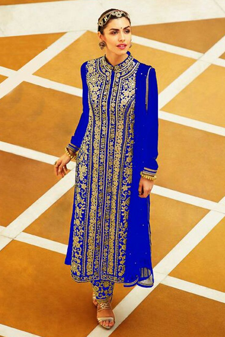 Attractive Blue Semi Stitched Faux Georgette Salwar Suit