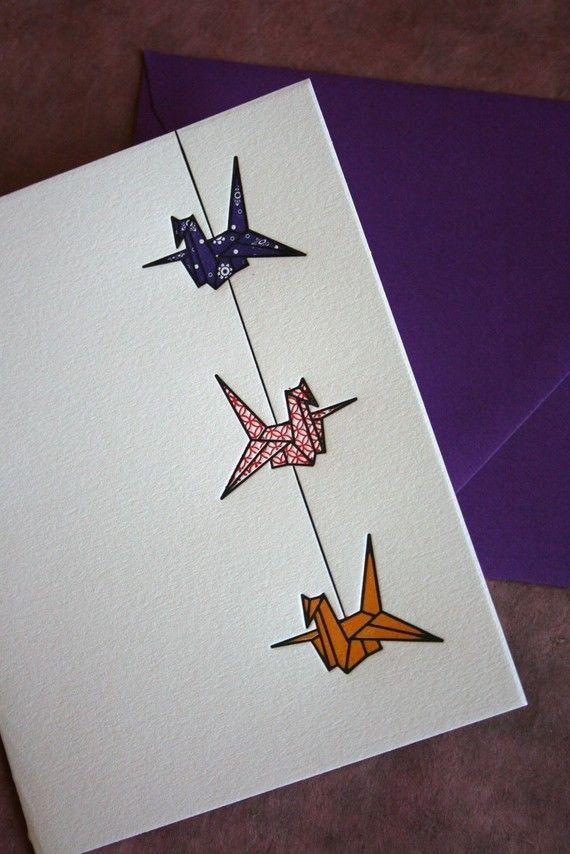 Set of 6 - Letterpress Printed String of Cranes Cards (Violet-Red-Orange)
