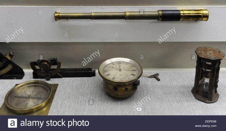 Old Navigational Instruments. Vintage Telescope, Compass ...