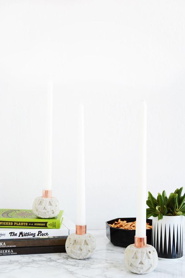 DIY Cement Pumpkin Candle Holders | Oleander + Palm