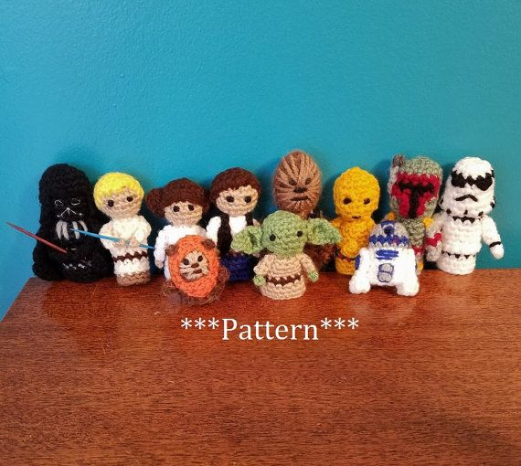 Star Wars crochet finger puppet patterns. Includes patterns for all 11 characters. **This listing is for separate PDF patterns with instructions and pictures on making the Luke Skywalker, Chewbacca, Han Solo, Princess Leia, C3PO, R2D2, Ewok, Yoda, Darth Vader, Stormtrooper, and Boba Fett finger puppets, not the items themselves** Due to the fact that only 5 pdf files can be uploaded per listing on Etsy this listing does not include instant downloading like all of my other patterns. **Please…