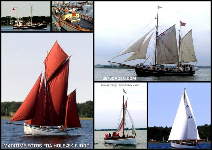 Collage with maritime photos from Holbaek fjord - Zealand - Denmark