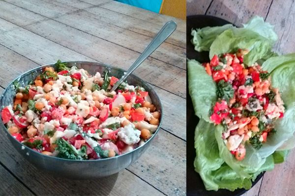 Vegatopia - Salade van bloemkool, kikkererwten en tahin-dressing