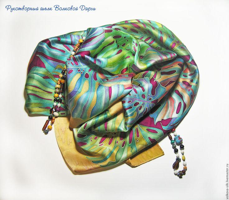 """Купить Батик платок """"Золото тропиков"""" - зеленый, цветочный, листья, шелк, шелк натуральный"""