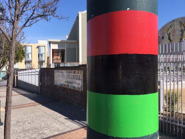 3rd Street Poles Get Red, Black, & Green Stripes In Honor Of Bayview's Black Heritage | Hoodline
