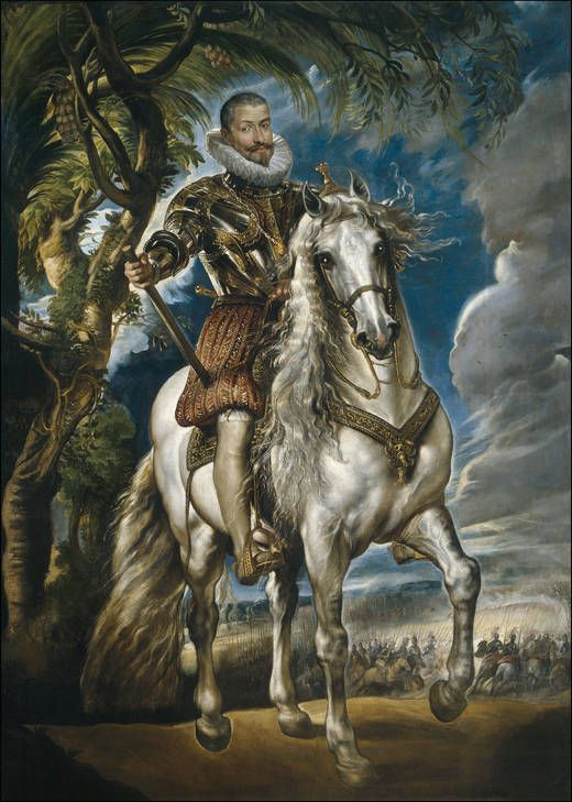 'Equestrian Portrait of the Duke of Lerma' - Author Rubens, Peter Paul - Procedence Acquisition, 1969 -- Felipe III's favorite, Francisco de Sandoval y Rojas, Marquis of Denia and First Duke of Lerma is shown as chief of the Spanish Armies.   Rubens created here a model for equestrian portraits that would prove very influential later on, especially in works by Van Dyck and Gaspar de Crayer.