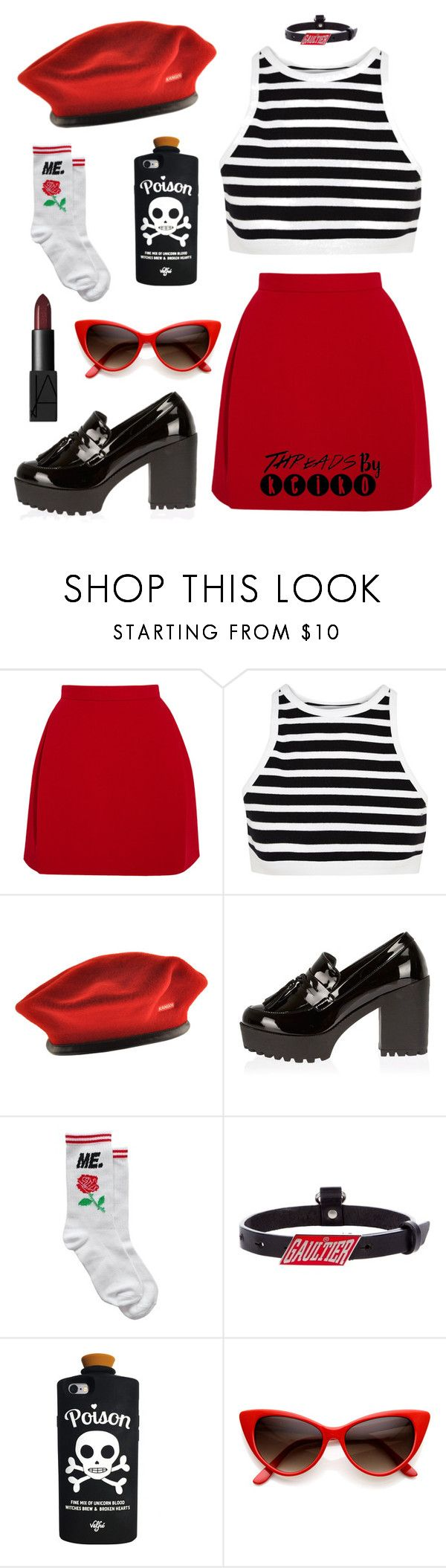 """Bend over boy ☠🈲"" by threadsbykeiko ❤ liked on Polyvore featuring Delpozo, T By Alexander Wang, kangol, River Island, Jean-Paul Gaultier and NARS Cosmetics"