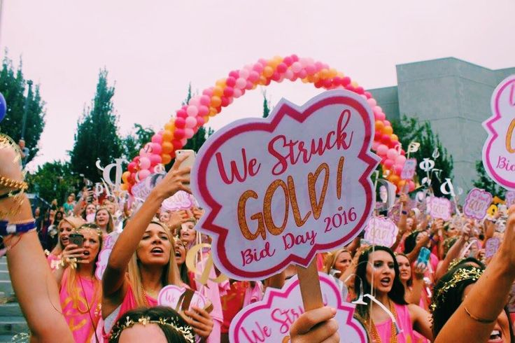 Phi mu Arkansas bid day we struck gold                                                                                                                                                                                 More