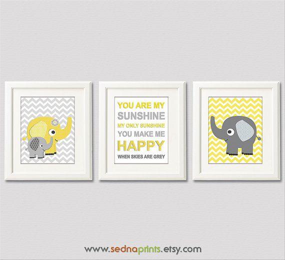 Yellow+and+grey+chevron+Nursery+Art+Print+Set++8x10+by+SednaPrints,+$37.50