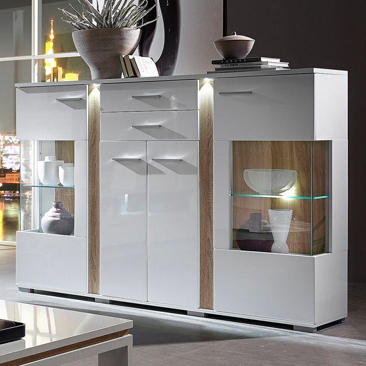 Opbergkast Borger - inclusief verlichting - hoogglans wit/lichte sonoma eikenhouten look