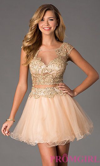 Short Two Piece Illusion Prom Dress by Dave and Johnny at PromGirl.com