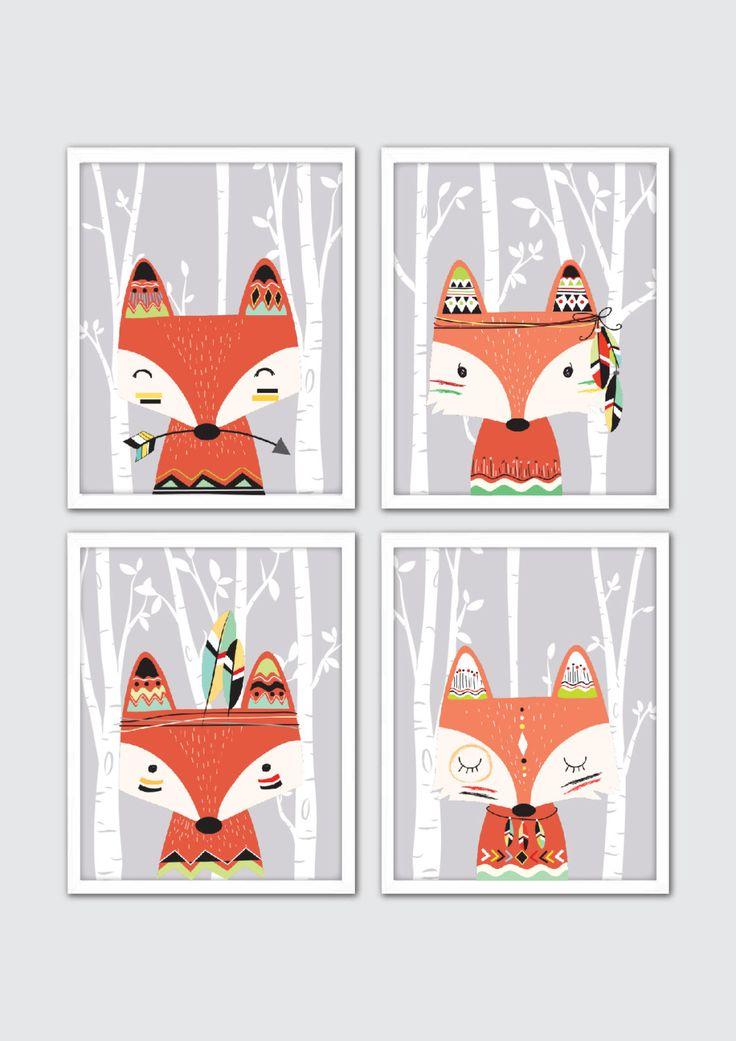 Fox Nursery Art Tribal Nursery Art Tribal Room by RomeCreations