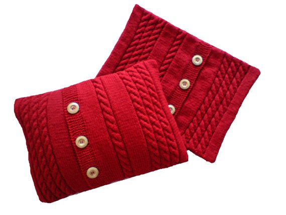 Hand knitted cushion cover set of 2 by woolopia on Etsy, $80.00