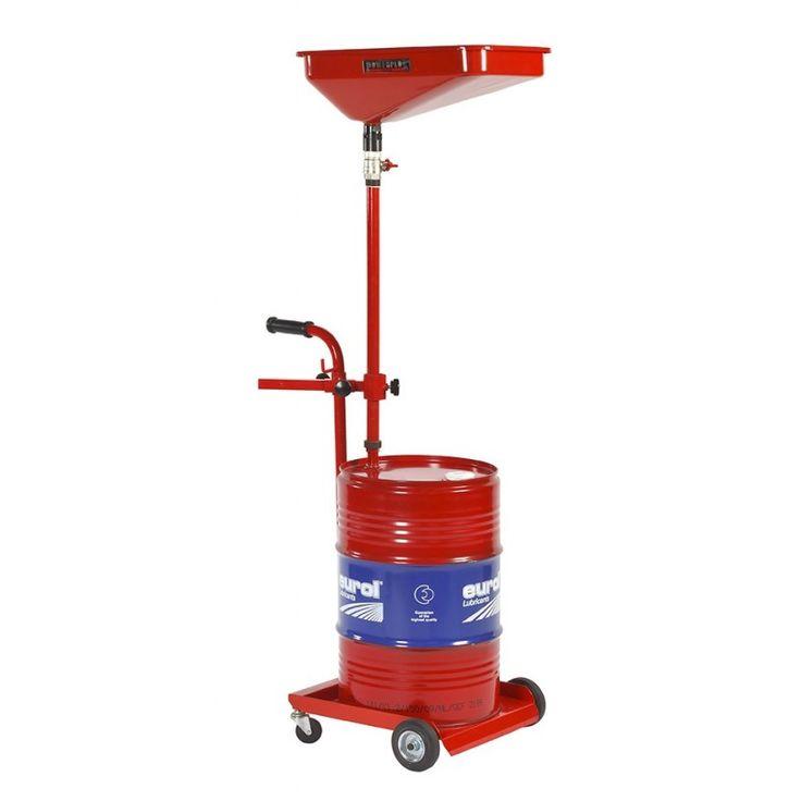 Olie opvangwagen voor60 liter vaten. Afgebeeld vat wordt niet meegeleverd. Deze dient op de foto ter voorbeeld. De opvangwagen is te verstellen tot een hoogte van 165 cm. Opvangbak afmeting: 53 x 33 cm.