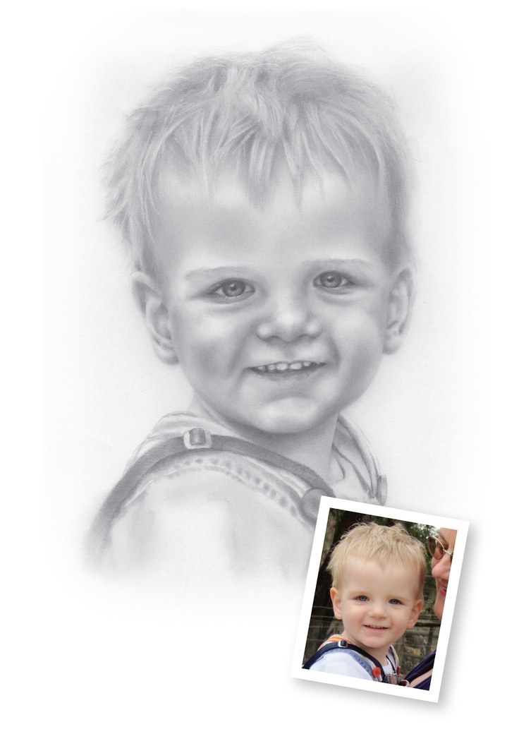 "Pencil Drawings of Boys - Ethan.  ""Hi Mark! That is fantastic, thank you so much. Even Ethan recognises it's him!""  Claire, Sleaford, Lincolnshire"