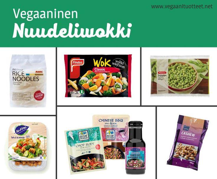 * Riisi- ja vehnänuudelit, myös monet maustetut pikanuudelit (http://www.vegaanituotteet.net/valmisruuat/pataruuat), ovat vegaanisia. Munanuudelit sisältävät kananmunaa. *Wokkiin voi heittää kasvisten lisäksi keitettyjä maustettuja soijasuikaleita, pilkottua tofua, seitania tai valmiita papuja. Nopein valinta on SoFine maustetut tofukuutiot. *Annoksen maustaa helposti valmiilla mauste- tai wok-kastikkeella. Vegaanisten kastikkeiden lista: http://www.vegaanituotteet.net/valmisruuat/kastikkeet