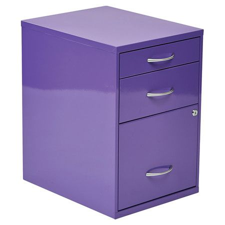 Stow office and household papers in this delightful file cabinet, showcasing 3 drawers and a charming purple finish.  Product: F...