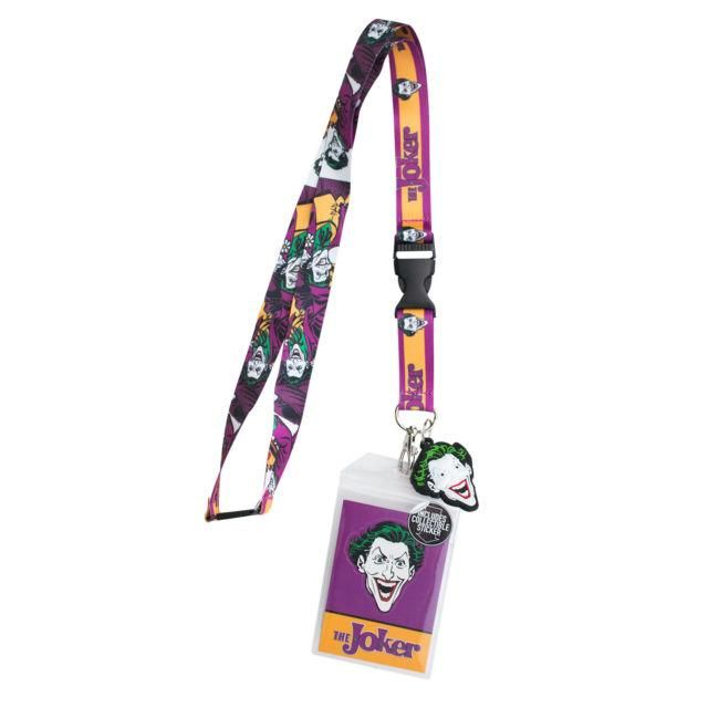 DC Comics Joker Logo/Character Lanyard Charm ID Holder NEW Licensed Batman