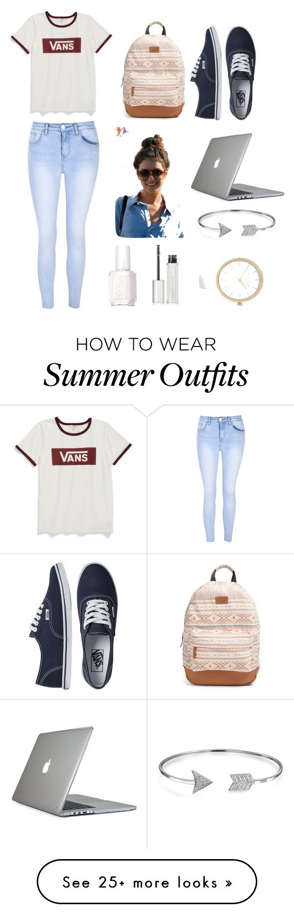 """Back To School Outfit"" by makaykayy on Polyvore featuring Vans, Rip Curl, Glamorous, Speck, Essie, Givenchy, Bling Jewelry, River Island, backpacks and contestentry"