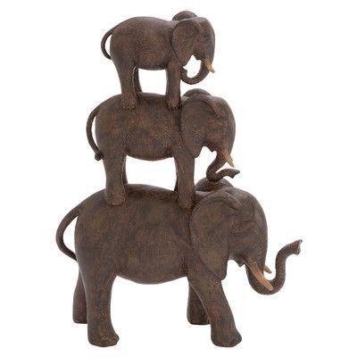 Woodland Imports Polystone Elephant Stack of Three Figurine