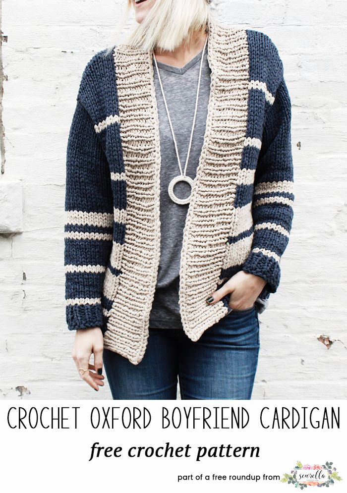 Knit this easy oxford striped oxford cardigan sweater by Two of Wands from my best blogger free patterns from 2017 roundup!