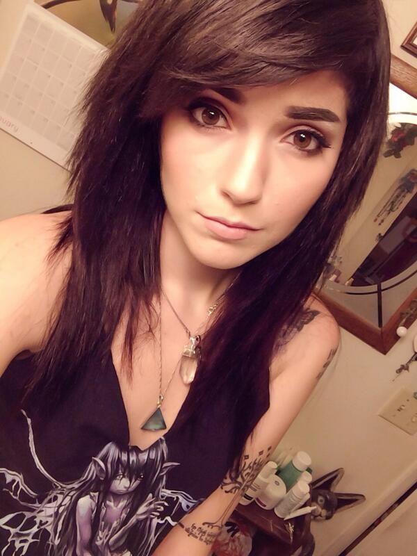 dark brown side swept bangs medium length hair #leda #muir #ledamonsterbunny