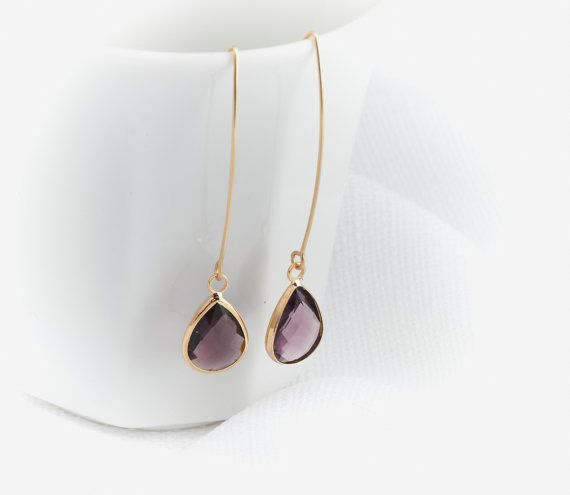Gold amethyst drop earrings Gold earrings Crystal by HLcollection
