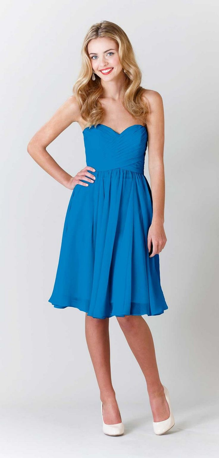 Kennedy Blue Addison Is A Gorgeous Knee Length Crinkle Chiffon Bridesmaid Dress Which Features Strapless