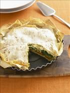 Roast Pumpkin and silverbeet pie using mountain bread