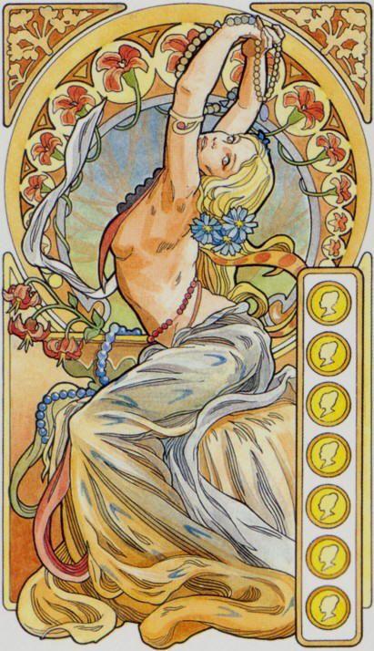 7 d'écus - Tarot art nouveau par Antonella Castelli #artisticexpressions