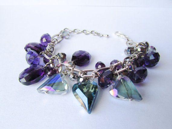 Blue Crystal Hearts BraceletPurple by DelabudCreations on Etsy