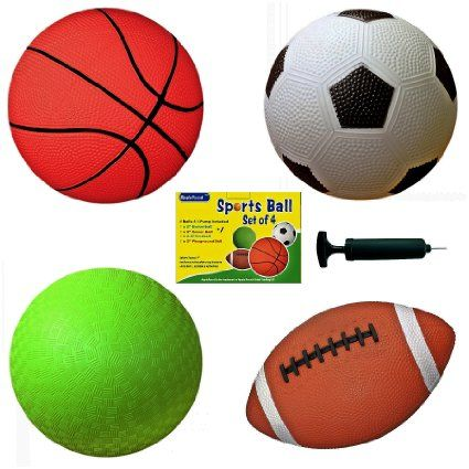 """Set of 4 Sports Balls with 1 Pump, 5"""" Soccer Ball, 5&quot…"""