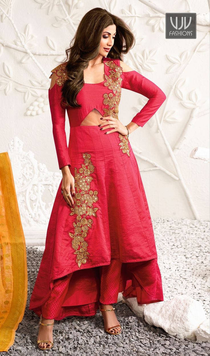 Shilpa Shetty Pink Color Raw Silk Designer Salwar Suit  Be your distinct style diva with this Shilpa Shetty pink color silk designer salwar suit. The gorgeous embroidered and resham work through the attire is awe inspiring.