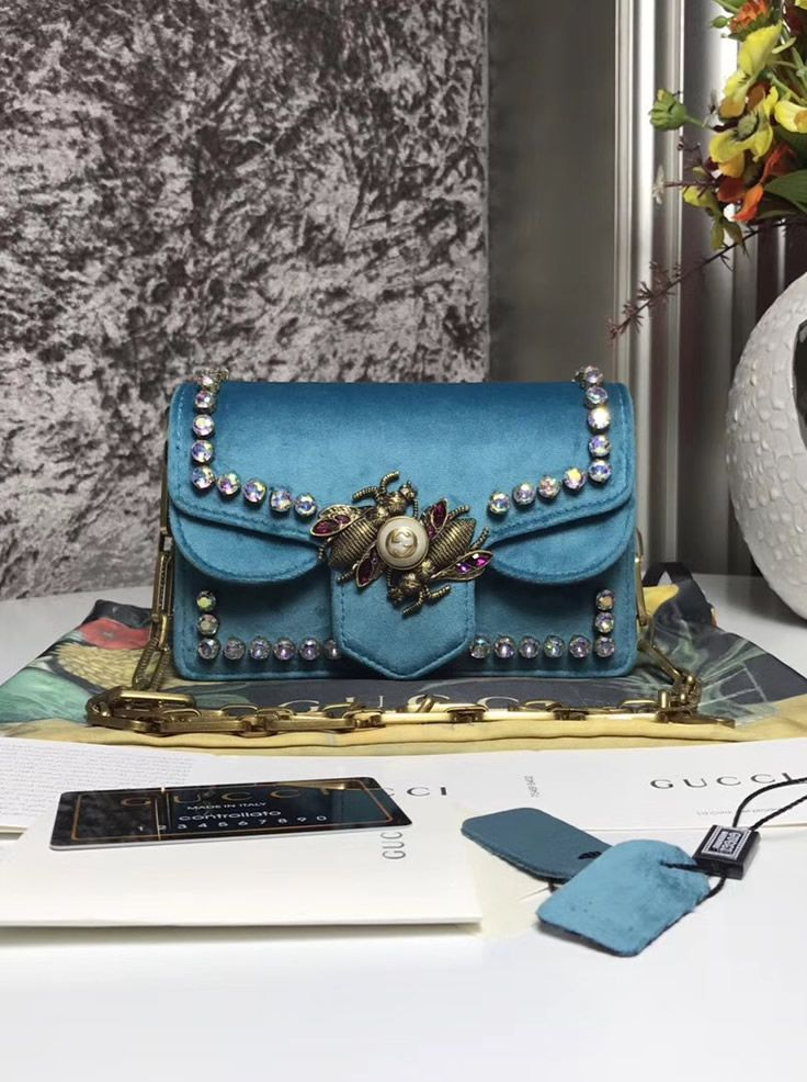 9173bf8d1718 Gucci Broadway blue velvet mini bag has 2 large bees on the front. They  have crystal wings, so they are beautiful.