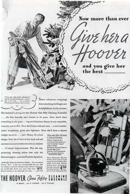"""The ads might have said """"Give her a Hoover"""" but my dad always emptied the bag for my mother, and kept the brushes clean and maintained all in working order.   After he retired he took over this chore in the house.  Hoover vacuum cleaner ad - 1936 - from vintageadbrowser.com"""