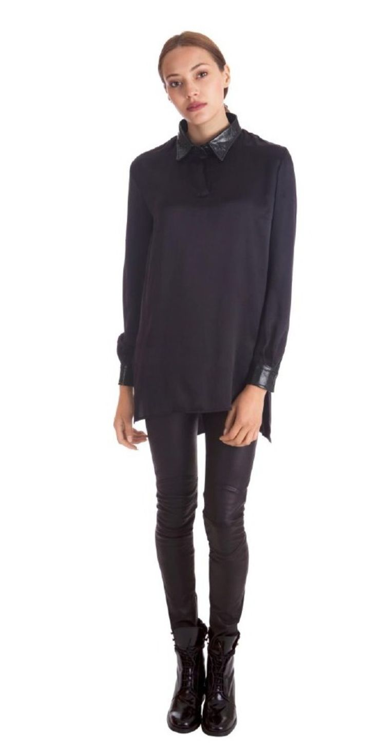 Oversize Shiny Collar Shirt on TROVEA.COM