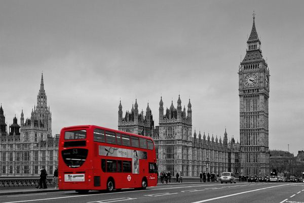 black and white london city photos | Black and White London with Red Bus Stretched Canvas by Alice Gosling ...