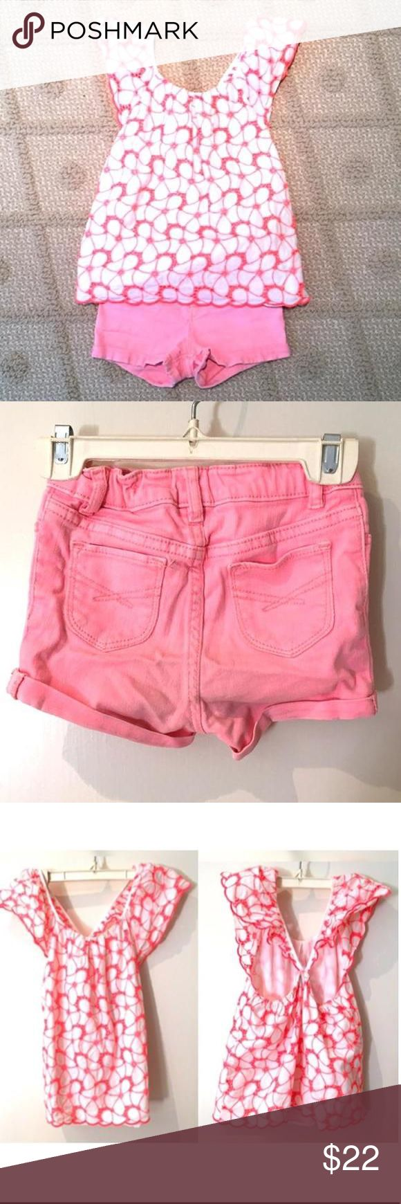 BABYGAP Adorable Summer 2pc Adorable summer 2pc outfit. Coral color. Denim shorts and matching too with beautiful back detail. Super cute and in great condition. $58 retail. Baby Gap Dresses