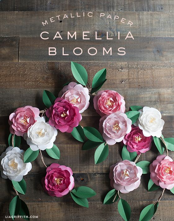 Craft lovely paper camellias with a template and tutorial at Lia Griffith  Metallic Paper Camellia Flowers DIY