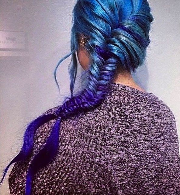 Loving this messy, sexy blue braid and blue color melt hair color design by BleachLondon. Blue Hair Color instagram.com/hotonbeauty #hotonbeauty: