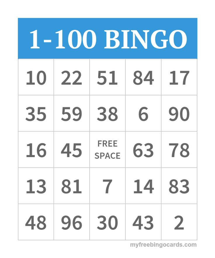 Free printable 1-100 number bingo cards