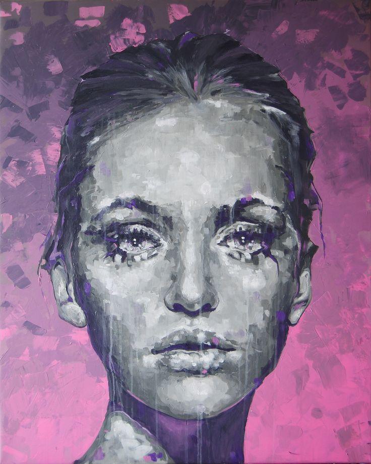 #Modern #Art #Portrait #Painting #Woman #Colour #Pink #Beautiful