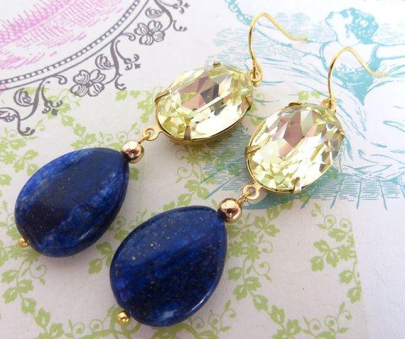 Vintage cabochon earrings yellow citrine earrings by Sofiasbijoux