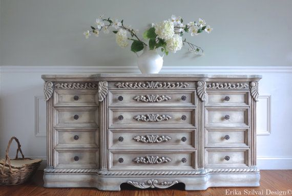 Ornate Carved Hand Painted French Country Antique White