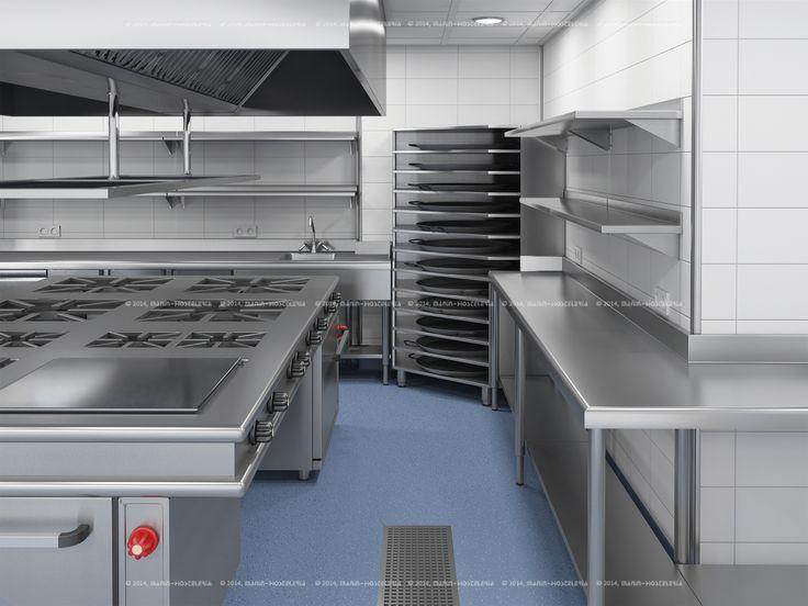 Diseño de cocina industrial en   #  3d   y   #  cad   con área de ...