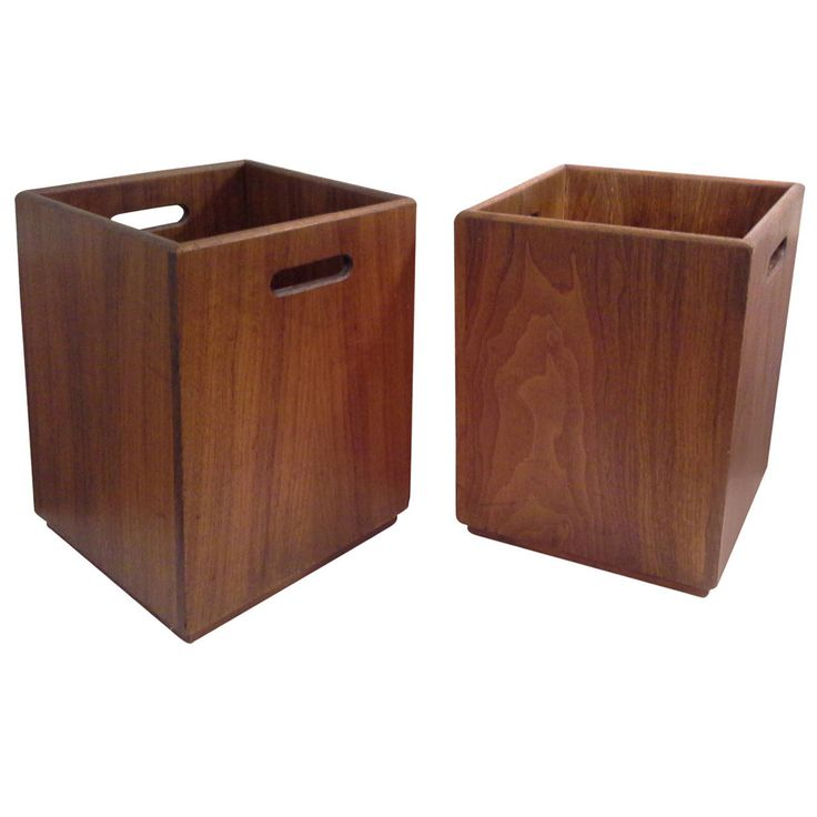 Pair of Walnut Mid-Century Waste Baskets or Flower Pots